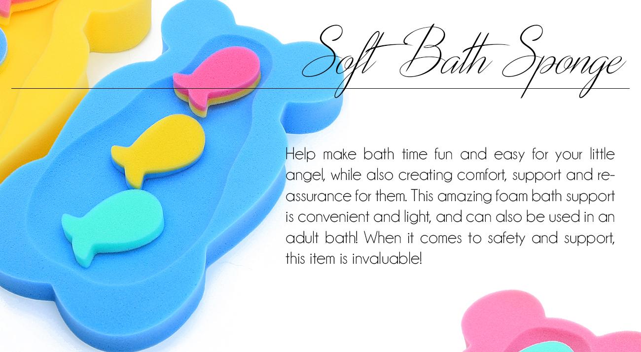 BABY BATH SPONGE SUPPORT COMFORT SOFT SAFE FOAM TODDLE SMALL SPONGES ...